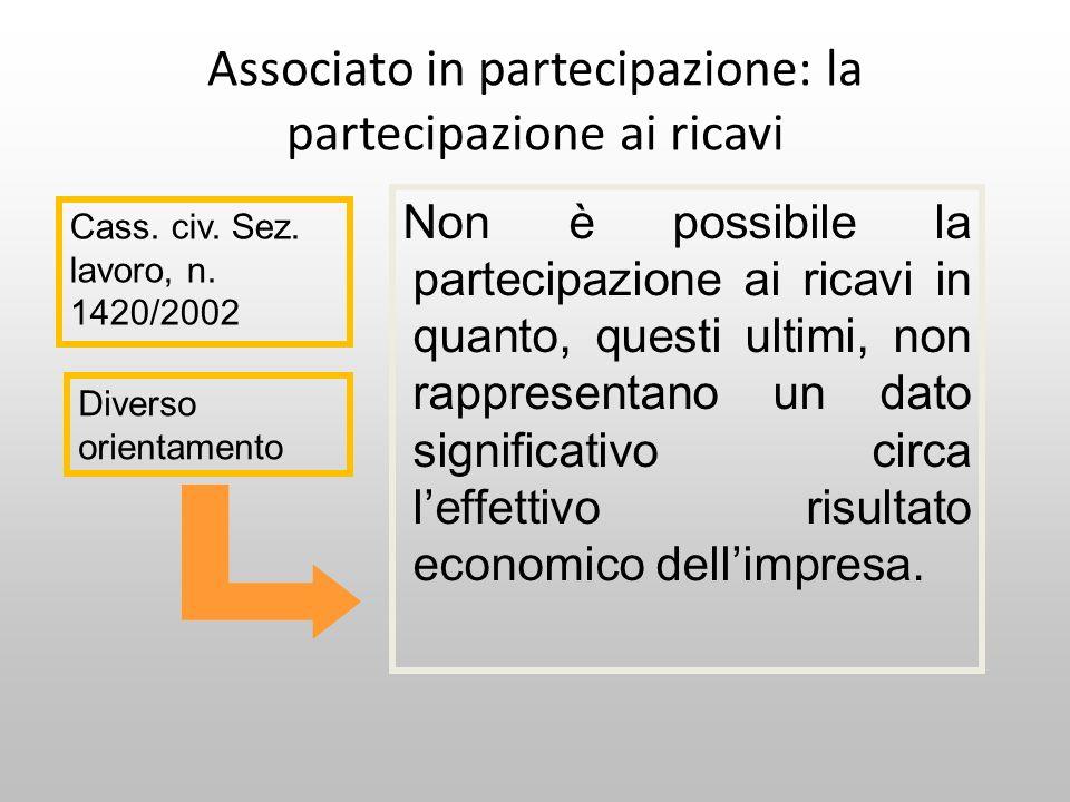 Associato in partecipazione: la partecipazione ai ricavi Non è possibile la partecipazione ai ricavi in quanto, questi ultimi, non rappresentano un da