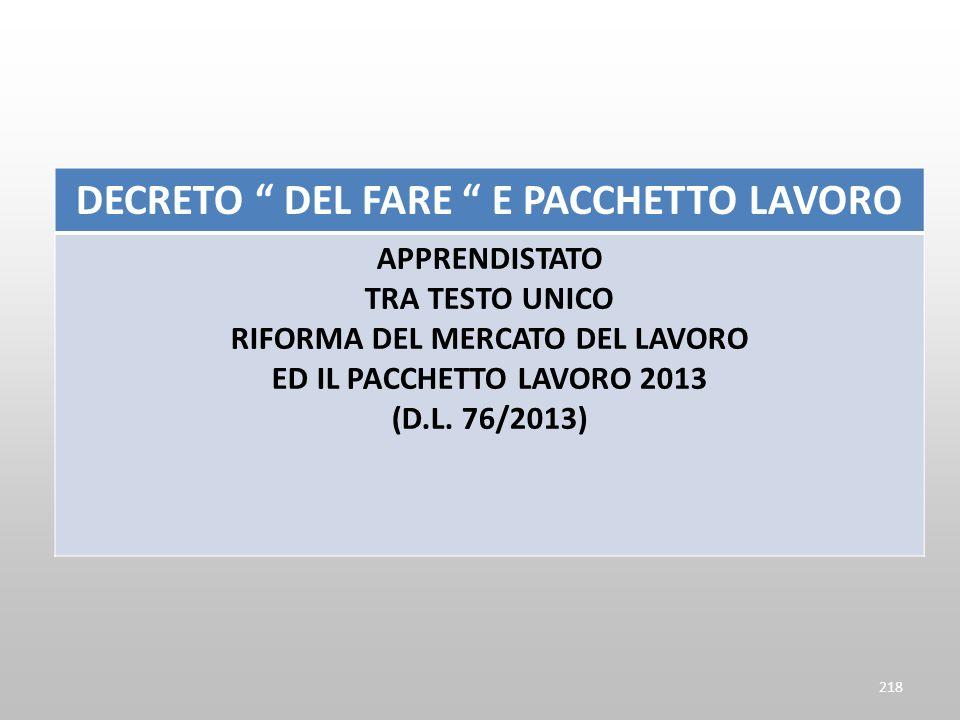 DECRETO DEL FARE E PACCHETTO LAVORO APPRENDISTATO TRA TESTO UNICO RIFORMA DEL MERCATO DEL LAVORO ED IL PACCHETTO LAVORO 2013 (D.L. 76/2013) 218