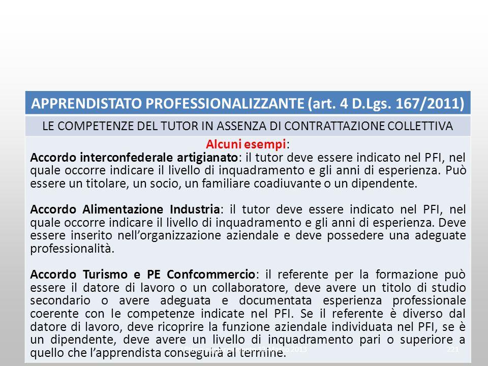 APPRENDISTATO PROFESSIONALIZZANTE (art. 4 D.Lgs. 167/2011) LE COMPETENZE DEL TUTOR IN ASSENZA DI CONTRATTAZIONE COLLETTIVA Alcuni esempi: Accordo inte