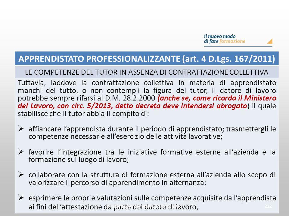 APPRENDISTATO PROFESSIONALIZZANTE (art. 4 D.Lgs. 167/2011) LE COMPETENZE DEL TUTOR IN ASSENZA DI CONTRATTAZIONE COLLETTIVA Tuttavia, laddove la contra