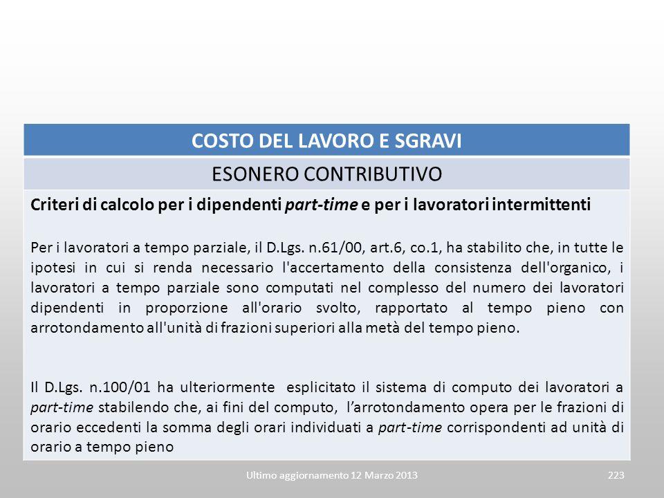 COSTO DEL LAVORO E SGRAVI ESONERO CONTRIBUTIVO Criteri di calcolo per i dipendenti part-time e per i lavoratori intermittenti Per i lavoratori a tempo