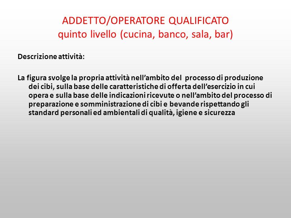 ADDETTO/OPERATORE QUALIFICATO quinto livello (cucina, banco, sala, bar) Descrizione attività: La figura svolge la propria attività nellambito del proc