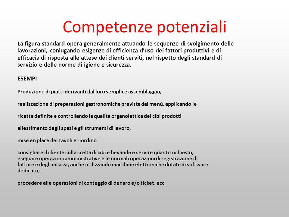Competenze potenziali La figura standard opera generalmente attuando le sequenze di svolgimento delle lavorazioni, coniugando esigenze di efficienza d