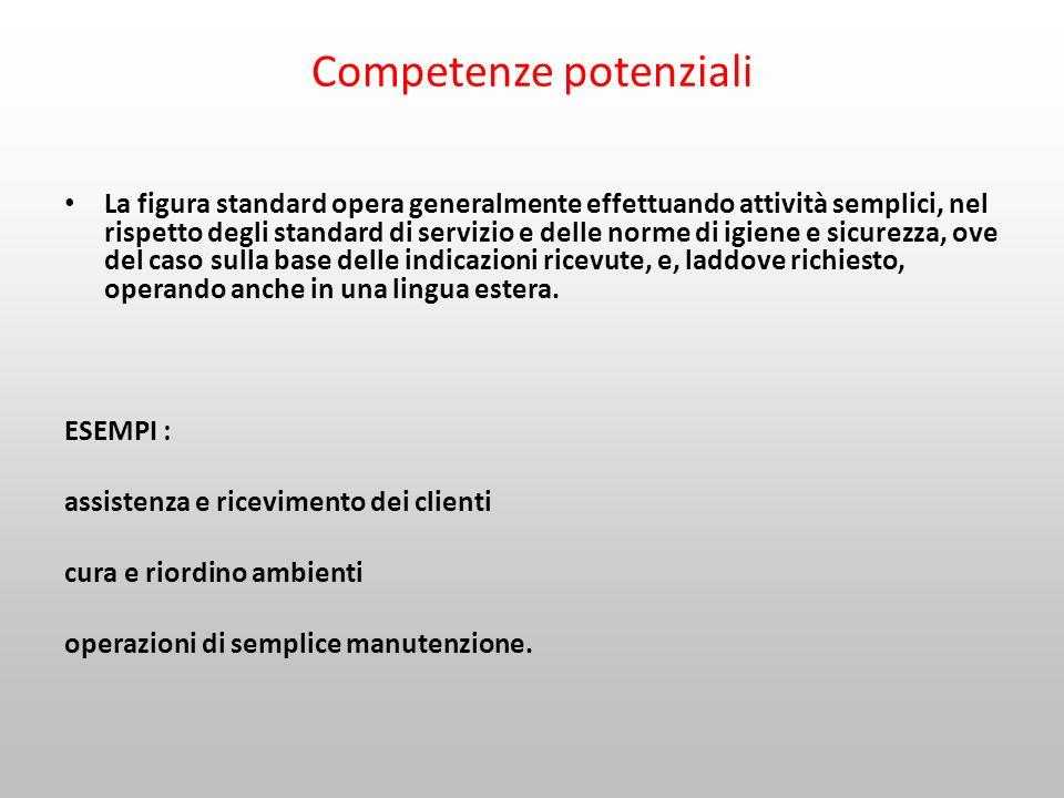 Competenze potenziali La figura standard opera generalmente effettuando attività semplici, nel rispetto degli standard di servizio e delle norme di ig