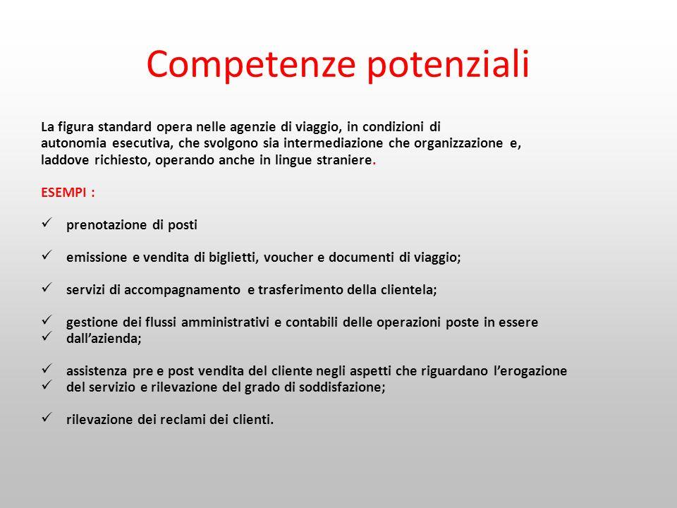 Competenze potenziali La figura standard opera nelle agenzie di viaggio, in condizioni di autonomia esecutiva, che svolgono sia intermediazione che or
