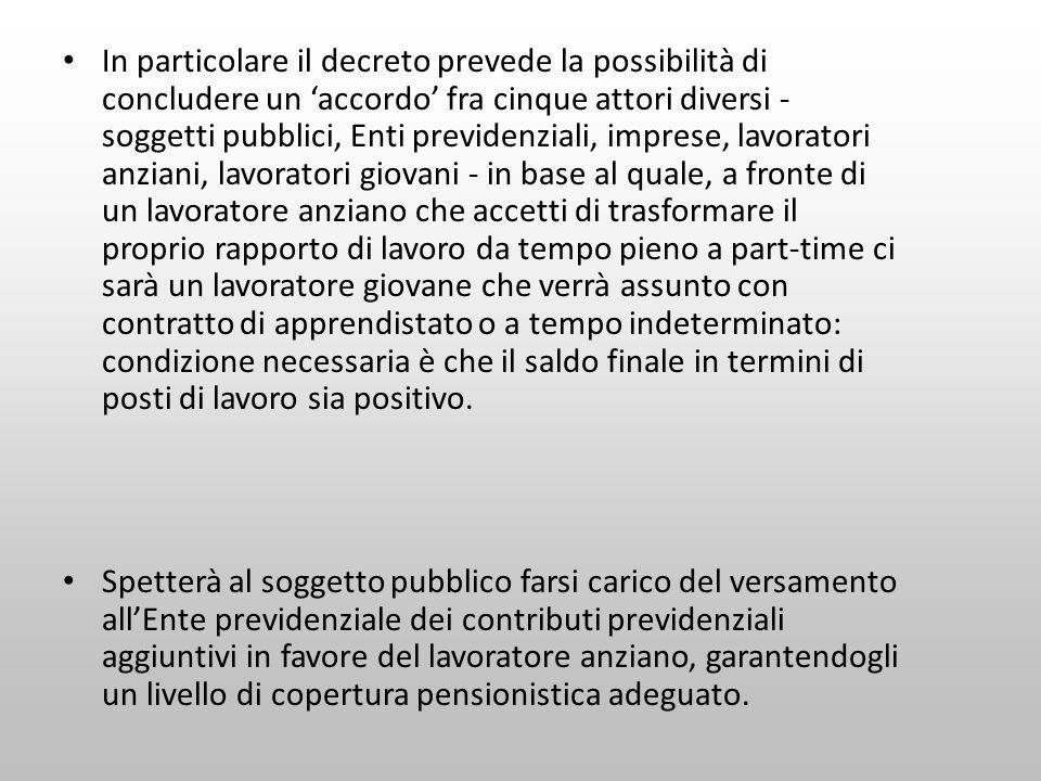 In particolare il decreto prevede la possibilità di concludere un accordo fra cinque attori diversi - soggetti pubblici, Enti previdenziali, imprese,