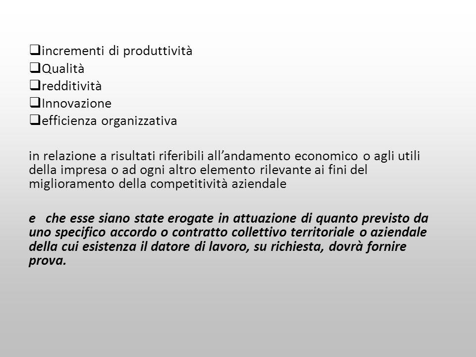 incrementi di produttività Qualità redditività Innovazione efficienza organizzativa in relazione a risultati riferibili allandamento economico o agli