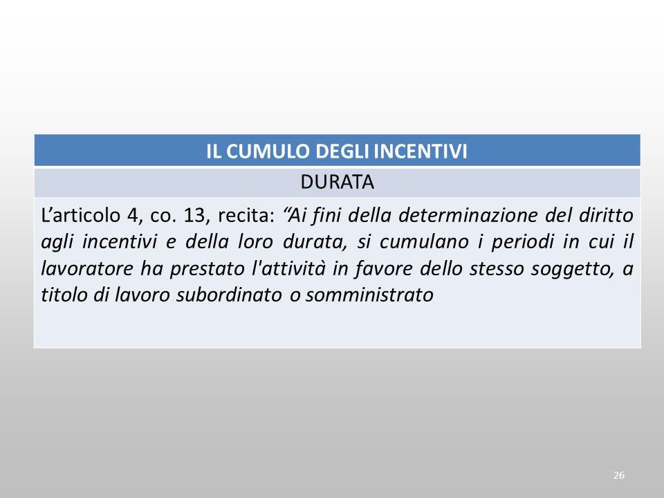 IL CUMULO DEGLI INCENTIVI DURATA Larticolo 4, co. 13, recita: Ai fini della determinazione del diritto agli incentivi e della loro durata, si cumulano