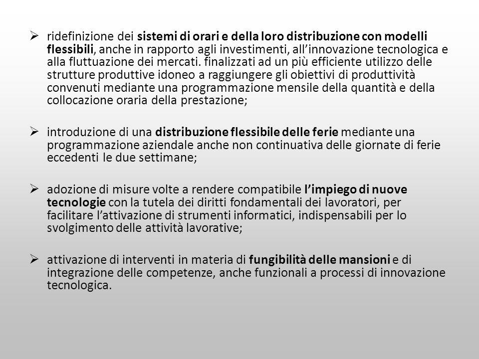 ridefinizione dei sistemi di orari e della loro distribuzione con modelli flessibili, anche in rapporto agli investimenti, allinnovazione tecnologica