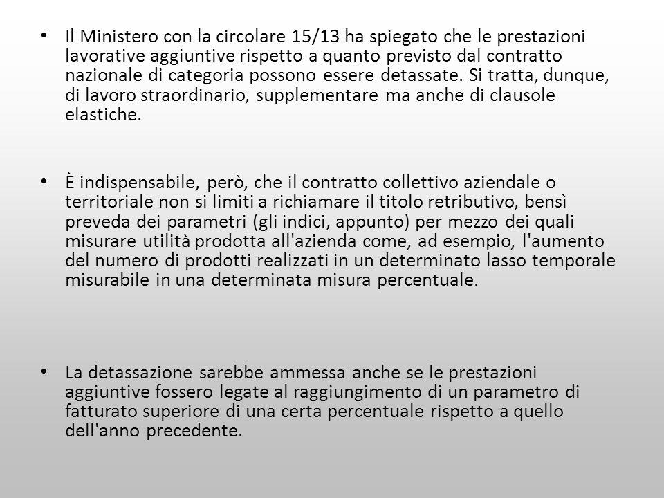 Il Ministero con la circolare 15/13 ha spiegato che le prestazioni lavorative aggiuntive rispetto a quanto previsto dal contratto nazionale di categor