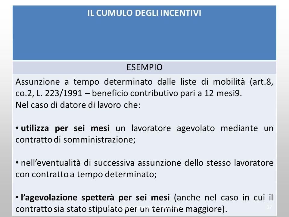 IL CUMULO DEGLI INCENTIVI ESEMPIO Assunzione a tempo determinato dalle liste di mobilità (art.8, co.2, L. 223/1991 – beneficio contributivo pari a 12
