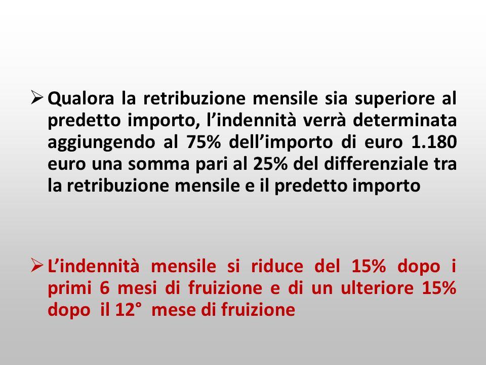 Qualora la retribuzione mensile sia superiore al predetto importo, lindennità verrà determinata aggiungendo al 75% dellimporto di euro 1.180 euro una