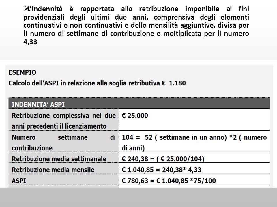 Lindennità è rapportata alla retribuzione imponibile ai fini previdenziali degli ultimi due anni, comprensiva degli elementi continuativi e non contin
