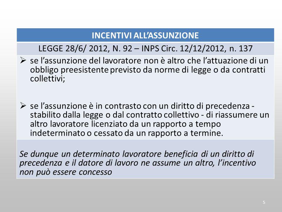 INCENTIVI ALLASSUNZIONE LEGGE 28/6/ 2012, N. 92 – INPS Circ. 12/12/2012, n. 137 se lassunzione del lavoratore non è altro che lattuazione di un obblig