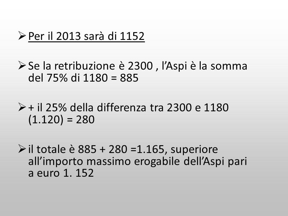 Per il 2013 sarà di 1152 Se la retribuzione è 2300, lAspi è la somma del 75% di 1180 = 885 + il 25% della differenza tra 2300 e 1180 (1.120) = 280 il