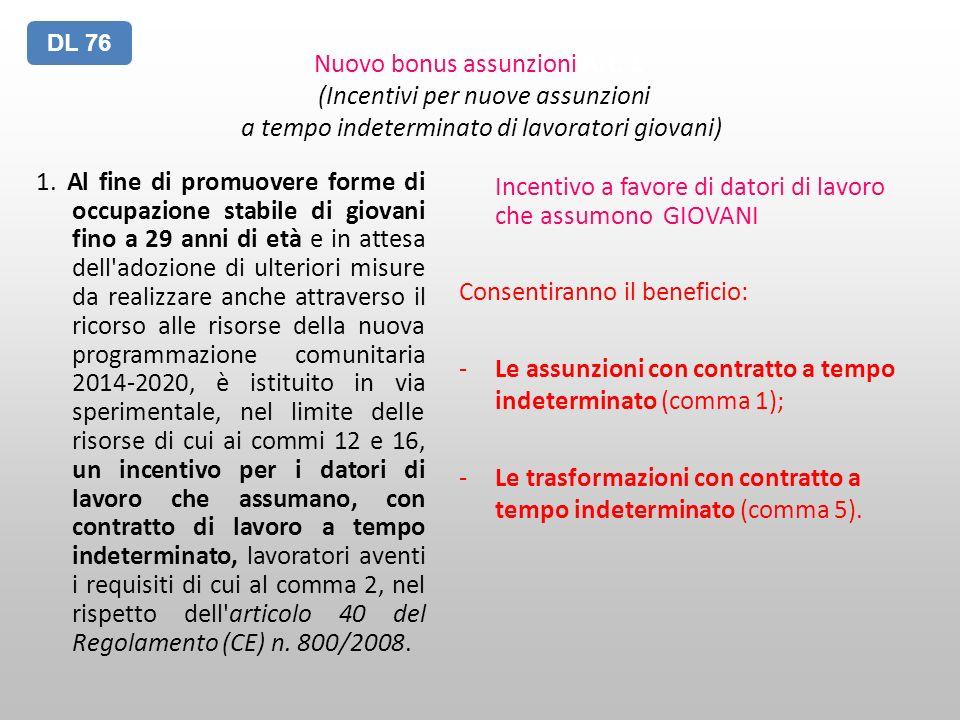 Nuovo bonus assunzioni Art. 1 (Incentivi per nuove assunzioni a tempo indeterminato di lavoratori giovani) 1. Al fine di promuovere forme di occupazio