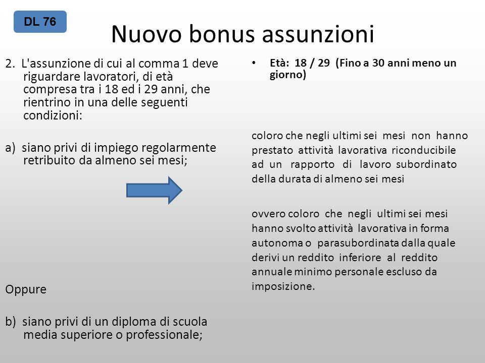 Nuovo bonus assunzioni 2. L'assunzione di cui al comma 1 deve riguardare lavoratori, di età compresa tra i 18 ed i 29 anni, che rientrino in una delle