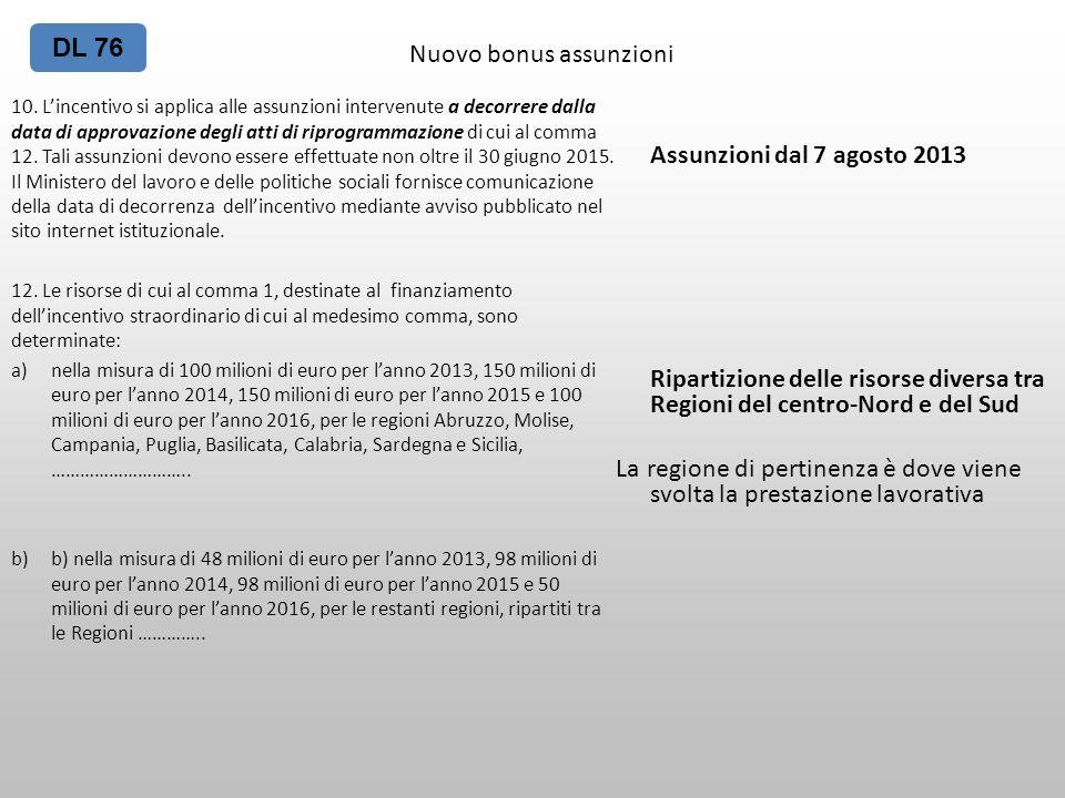 Nuovo bonus assunzioni 10. Lincentivo si applica alle assunzioni intervenute a decorrere dalla data di approvazione degli atti di riprogrammazione di