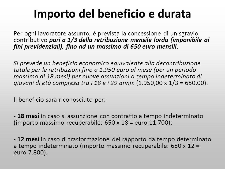 Importo del beneficio e durata Per ogni lavoratore assunto, è prevista la concessione di un sgravio contributivo pari a 1/3 della retribuzione mensile