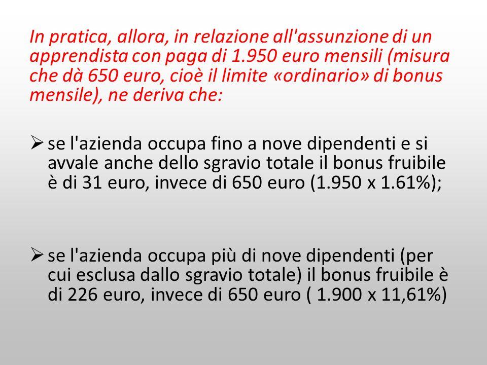In pratica, allora, in relazione all'assunzione di un apprendista con paga di 1.950 euro mensili (misura che dà 650 euro, cioè il limite «ordinario» d