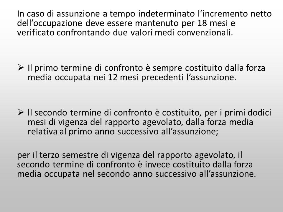 In caso di assunzione a tempo indeterminato lincremento netto delloccupazione deve essere mantenuto per 18 mesi e verificato confrontando due valori m