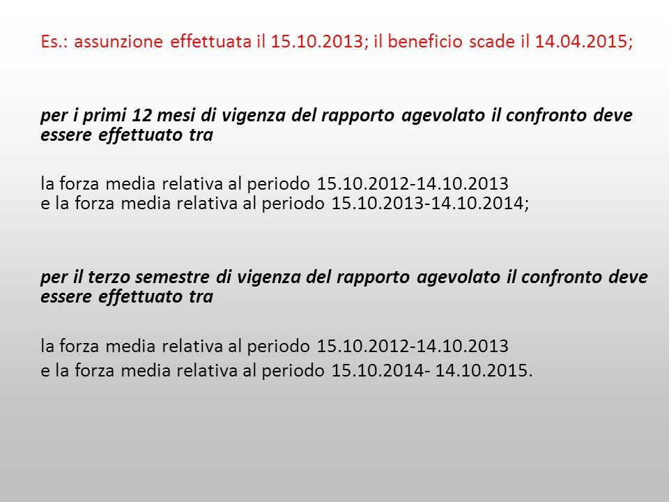 Es.: assunzione effettuata il 15.10.2013; il beneficio scade il 14.04.2015; per i primi 12 mesi di vigenza del rapporto agevolato il confronto deve es