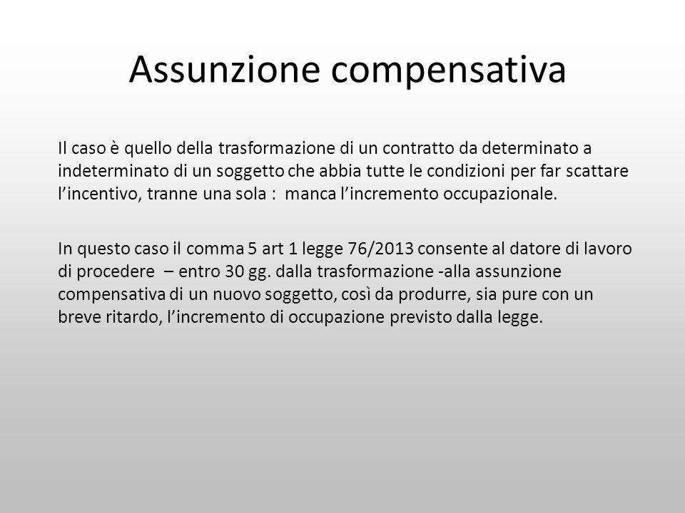 Assunzione compensativa Il caso è quello della trasformazione di un contratto da determinato a indeterminato di un soggetto che abbia tutte le condizi