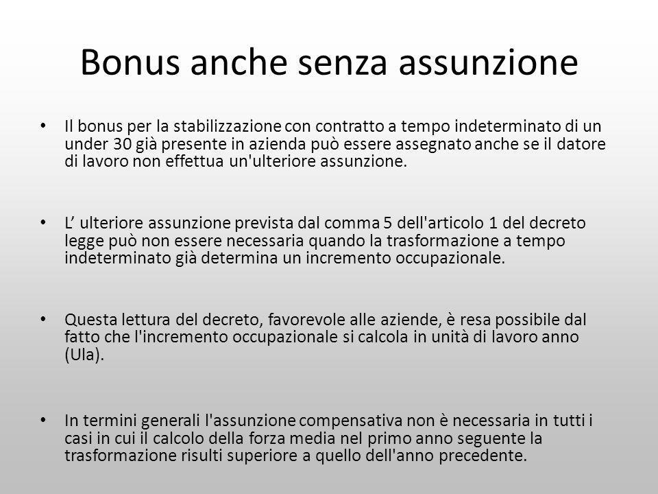 Bonus anche senza assunzione Il bonus per la stabilizzazione con contratto a tempo indeterminato di un under 30 già presente in azienda può essere ass