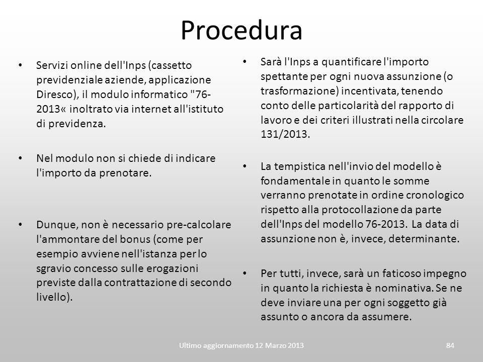 Procedura Servizi online dell'Inps (cassetto previdenziale aziende, applicazione Diresco), il modulo informatico