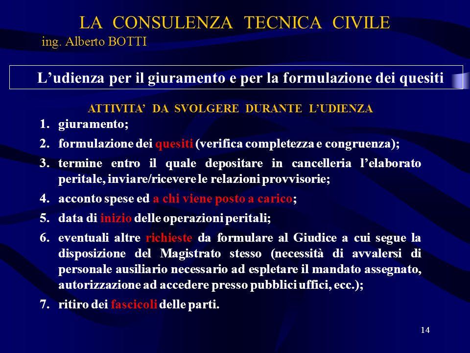 LA CONSULENZA TECNICA CIVILE ing. Alberto BOTTI 14 Ludienza per il giuramento e per la formulazione dei quesiti ATTIVITA DA SVOLGERE DURANTE LUDIENZA