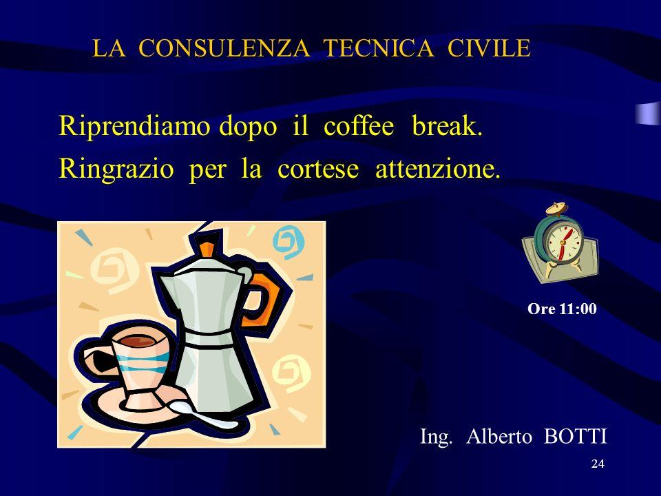 LA CONSULENZA TECNICA CIVILE Riprendiamo dopo il coffee break. Ringrazio per la cortese attenzione. Ing. Alberto BOTTI 24 Ore 11:00