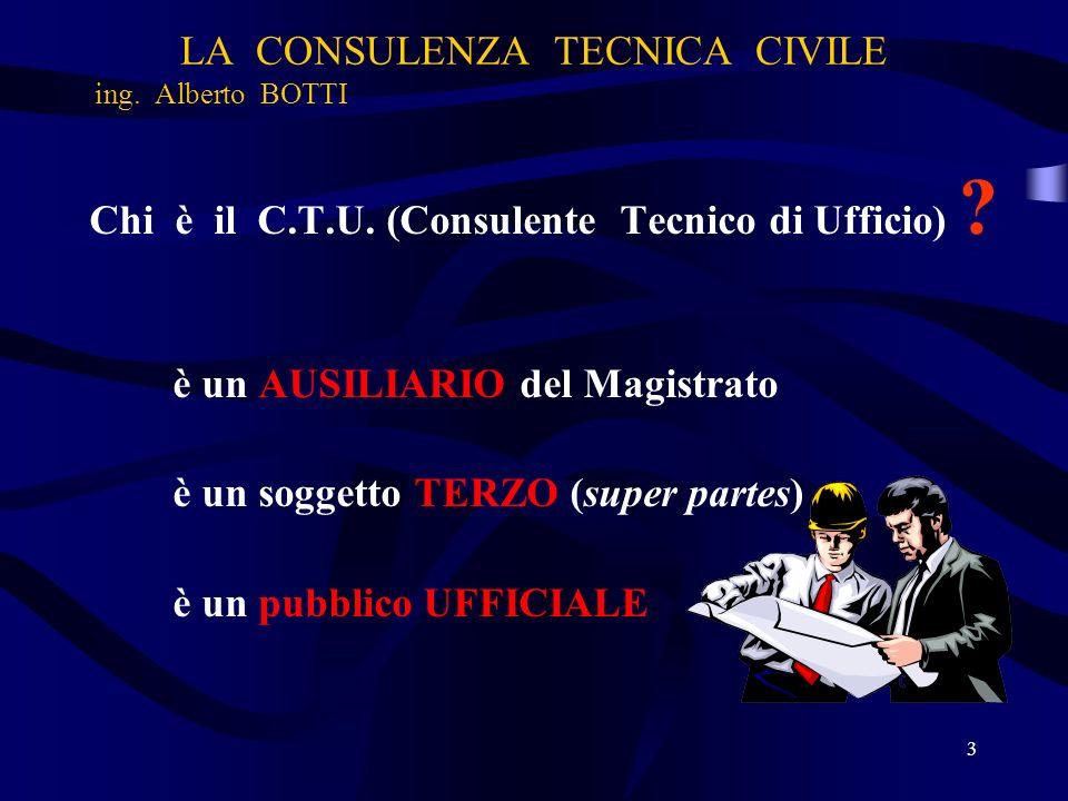 LA CONSULENZA TECNICA CIVILE ing. Alberto BOTTI Chi è il C.T.U. (Consulente Tecnico di Ufficio) ? è un AUSILIARIO del Magistrato è un soggetto TERZO (