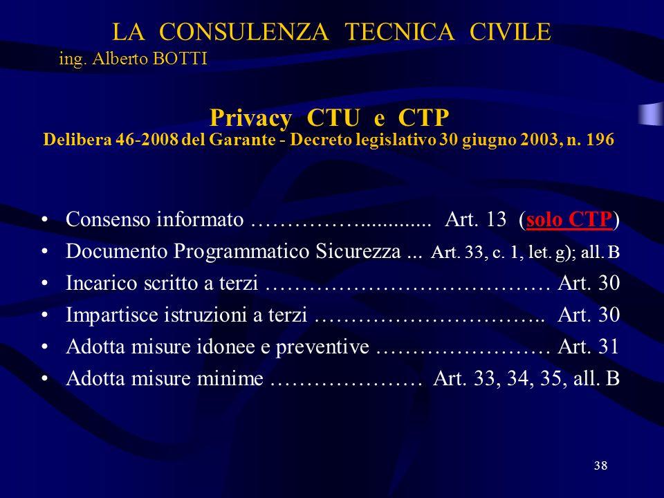 LA CONSULENZA TECNICA CIVILE ing. Alberto BOTTI 38 Privacy CTU e CTP Delibera 46-2008 del Garante - Decreto legislativo 30 giugno 2003, n. 196 Consens