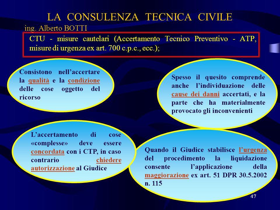 CTU - misure cautelari (Accertamento Tecnico Preventivo - ATP, misure di urgenza ex art. 700 c.p.c., ecc.); LA CONSULENZA TECNICA CIVILE ing. Alberto