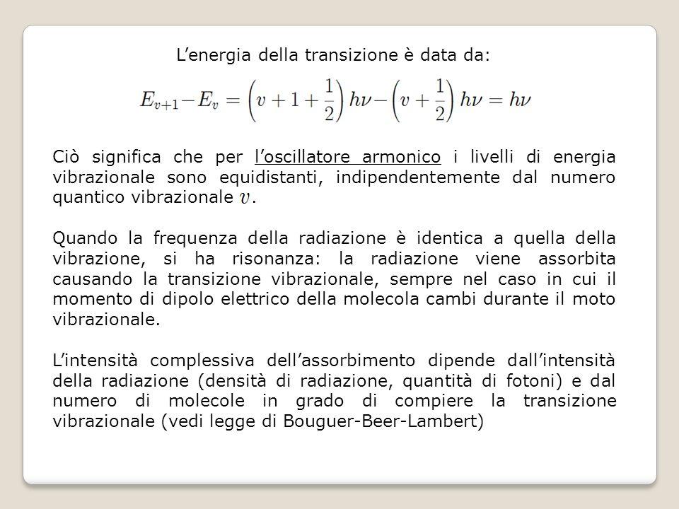 Lenergia della transizione è data da: Ciò significa che per loscillatore armonico i livelli di energia vibrazionale sono equidistanti, indipendentemen