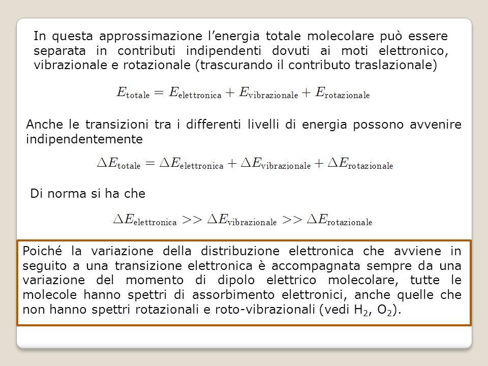 In questa approssimazione lenergia totale molecolare può essere separata in contributi indipendenti dovuti ai moti elettronico, vibrazionale e rotazio