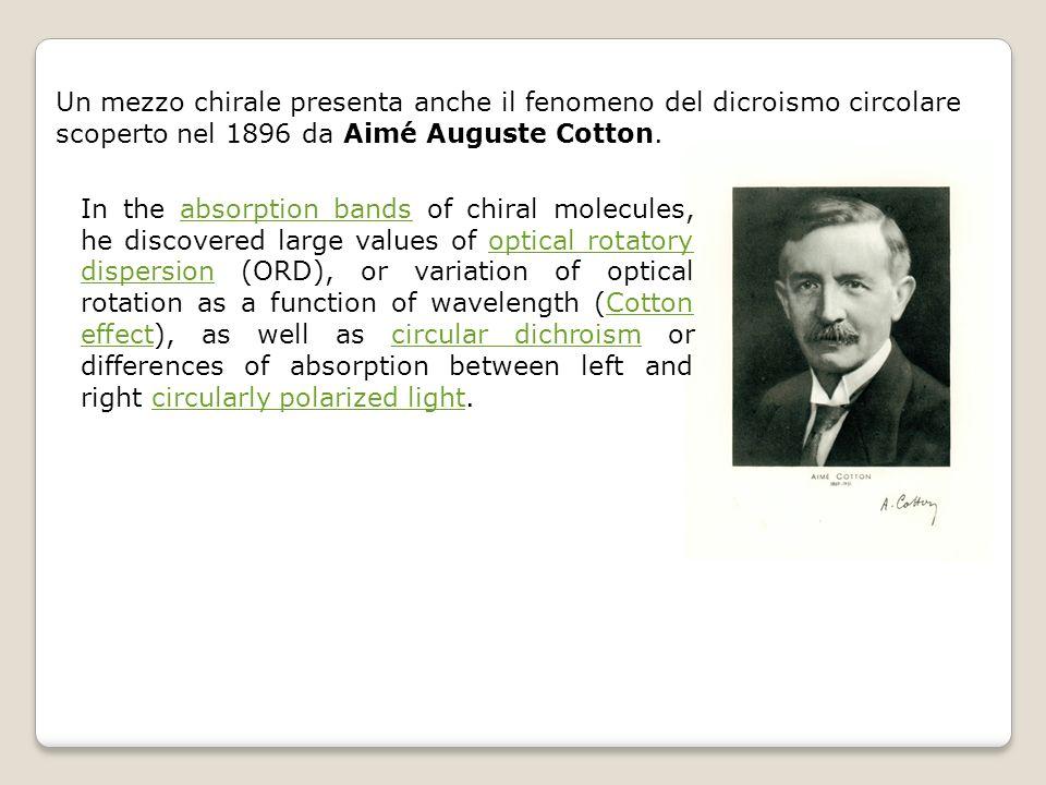 Un mezzo chirale presenta anche il fenomeno del dicroismo circolare scoperto nel 1896 da Aimé Auguste Cotton. In the absorption bands of chiral molecu