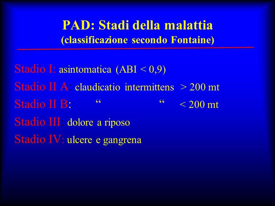 PAD: Stadi della malattia (classificazione secondo Fontaine) Stadio I: asintomatica (ABI < 0,9) Stadio II A: claudicatio intermittens > 200 mt Stadio