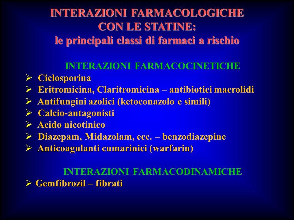INTERAZIONI FARMACOLOGICHE CON LE STATINE: le principali classi di farmaci a rischio INTERAZIONI FARMACOCINETICHE Ciclosporina Eritromicina, Claritrom