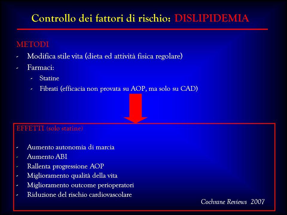 EFFETTI (solo statine) -Aumento autonomia di marcia -Aumento ABI -Rallenta progressione AOP -Miglioramento qualità della vita -Miglioramento outcome p