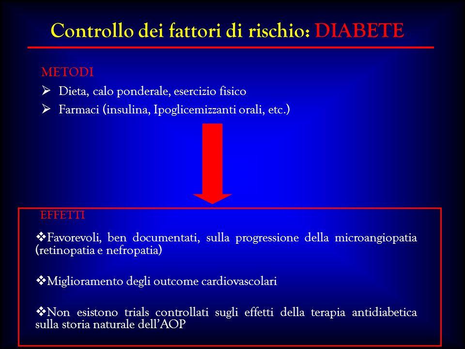 Favorevoli, ben documentati, sulla progressione della microangiopatia (retinopatia e nefropatia) Miglioramento degli outcome cardiovascolari Non esist