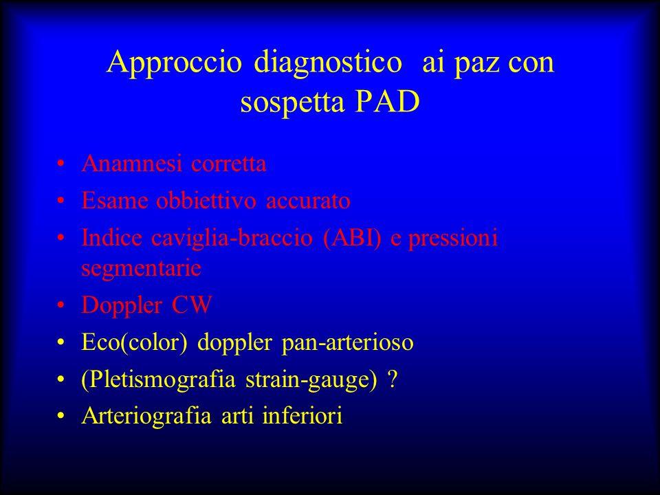 Approccio diagnostico ai paz con sospetta PAD Anamnesi corretta Esame obbiettivo accurato Indice caviglia-braccio (ABI) e pressioni segmentarie Dopple