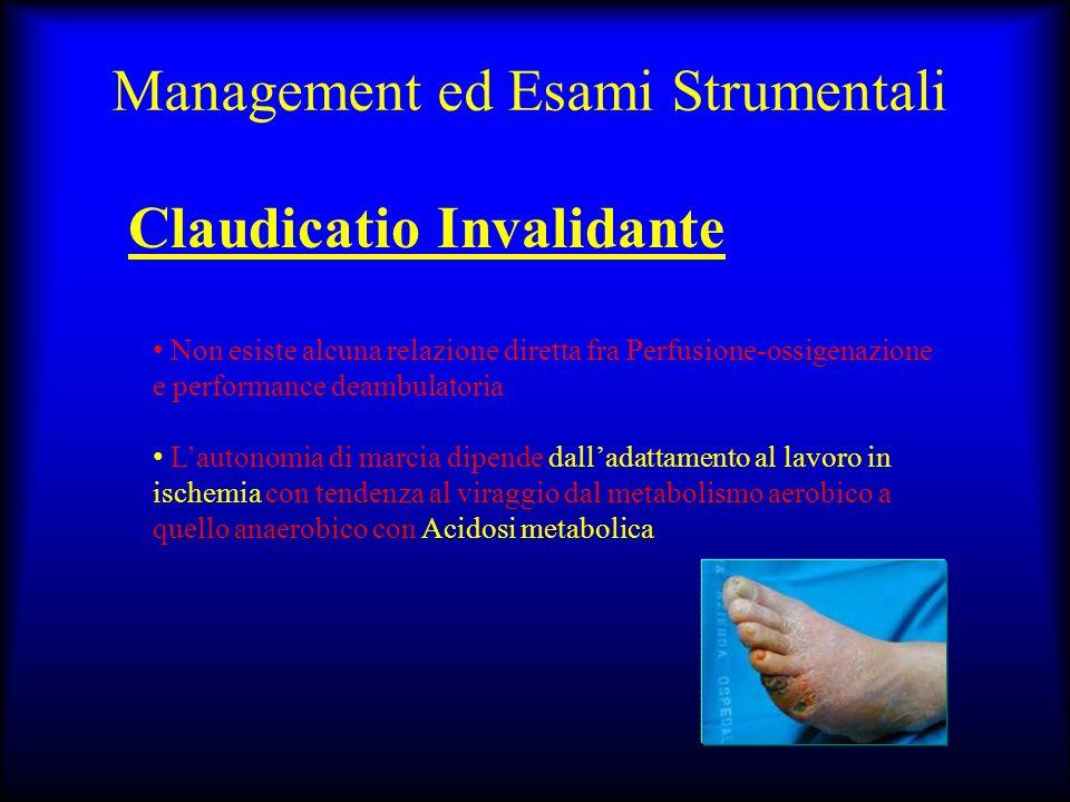 Management ed Esami Strumentali Claudicatio Invalidante Non esiste alcuna relazione diretta fra Perfusione-ossigenazione e performance deambulatoria L