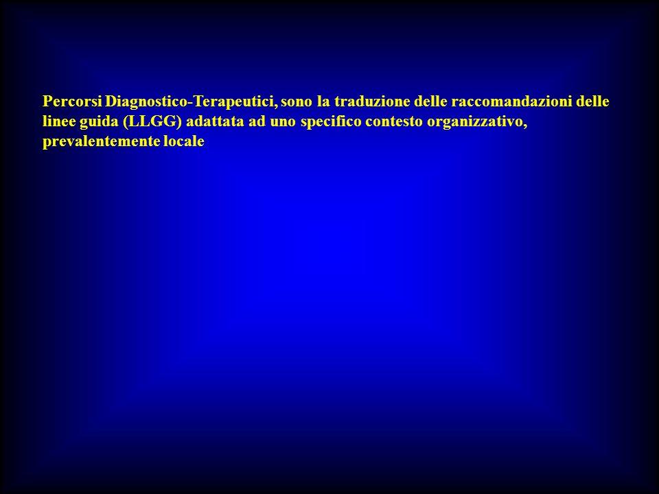Percorsi Diagnostico-Terapeutici, sono la traduzione delle raccomandazioni delle linee guida (LLGG) adattata ad uno specifico contesto organizzativo,