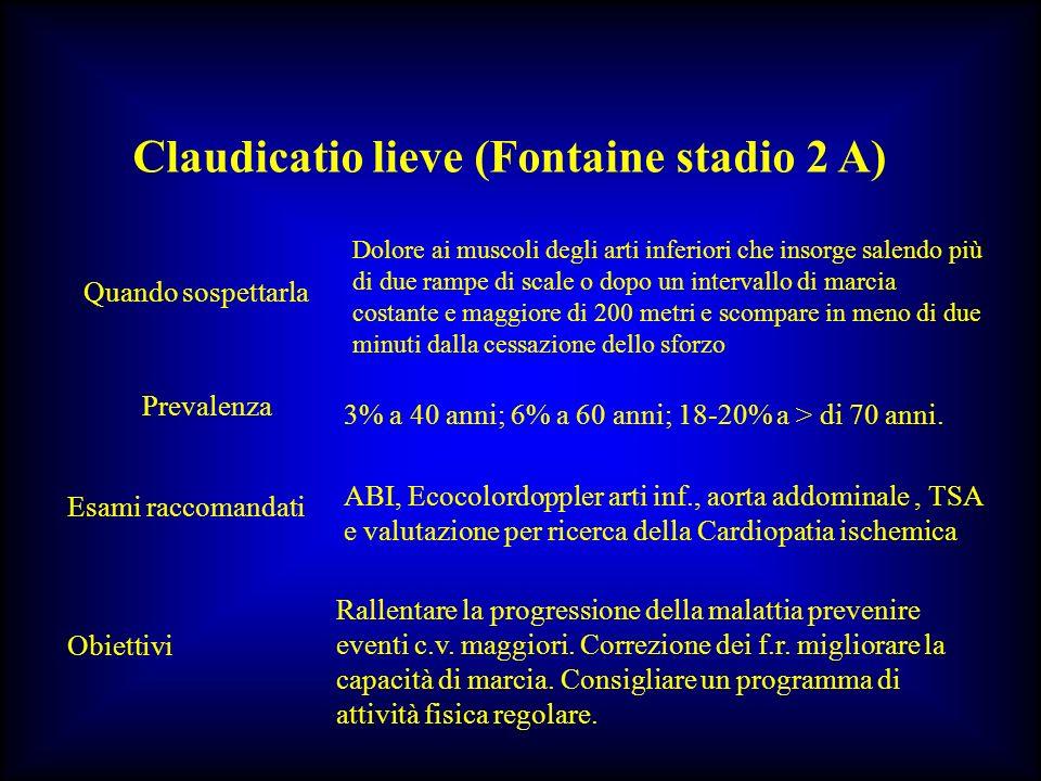 Claudicatio lieve (Fontaine stadio 2 A) Quando sospettarla Dolore ai muscoli degli arti inferiori che insorge salendo più di due rampe di scale o dopo
