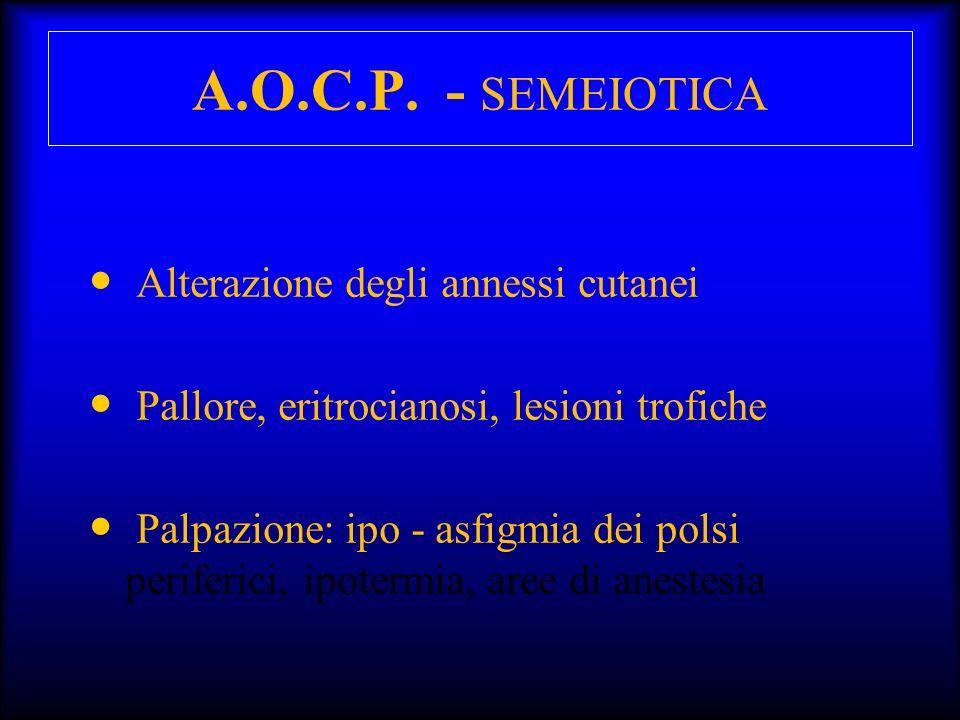 A.O.C.P. - SEMEIOTICA Alterazione degli annessi cutanei Pallore, eritrocianosi, lesioni trofiche Palpazione: ipo - asfigmia dei polsi periferici, ipot