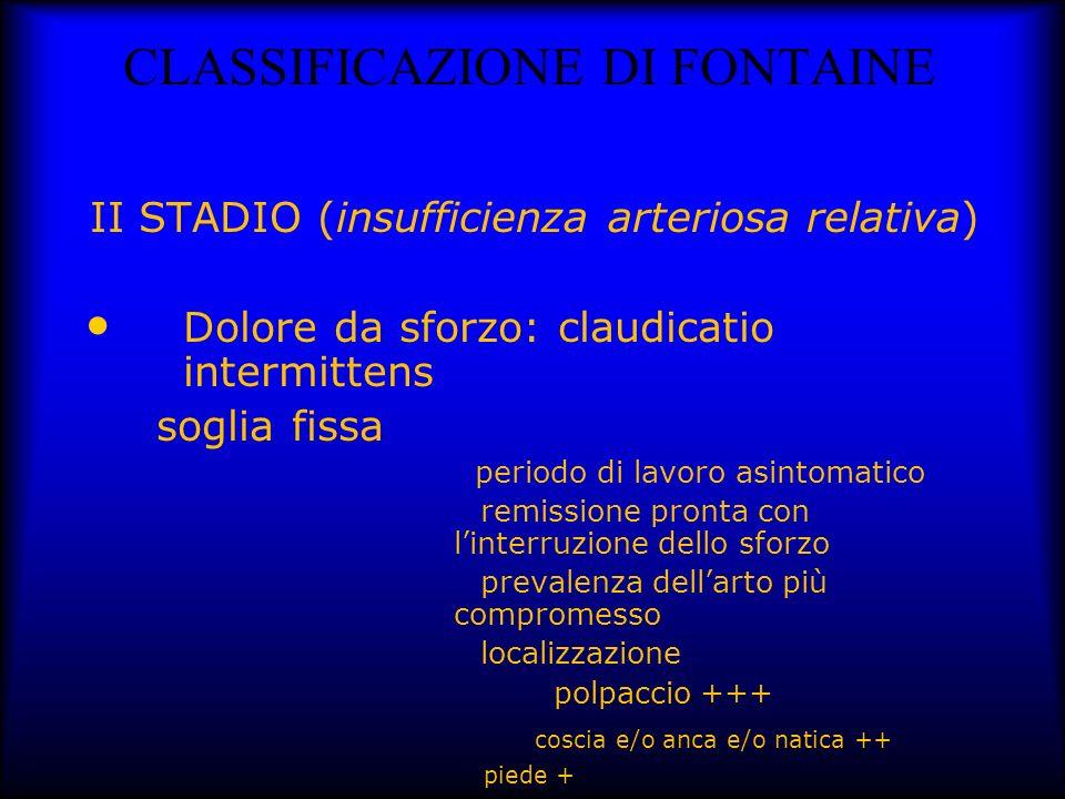 CLASSIFICAZIONE DI FONTAINE II STADIO (insufficienza arteriosa relativa) Dolore da sforzo: claudicatio intermittens soglia fissa periodo di lavoro asi