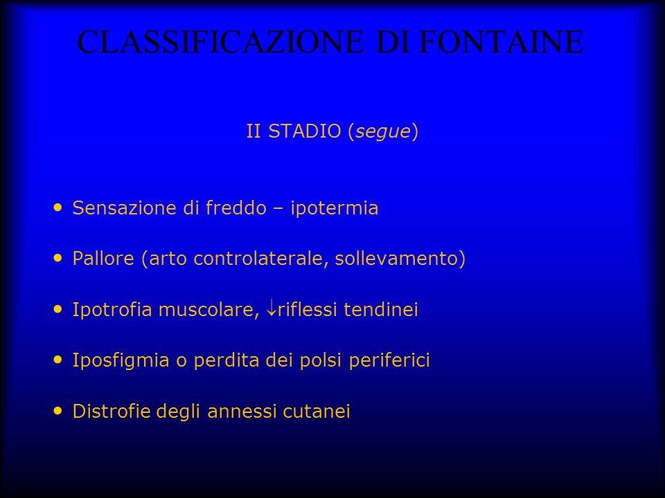 CLASSIFICAZIONE DI FONTAINE II STADIO (segue) Sensazione di freddo – ipotermia Pallore (arto controlaterale, sollevamento) Ipotrofia muscolare, rifles