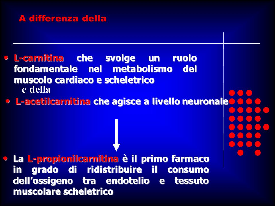 A differenza della L-carnitina che svolge un ruolo fondamentale nel metabolismo del muscolo cardiaco e scheletrico L-carnitina che svolge un ruolo fon