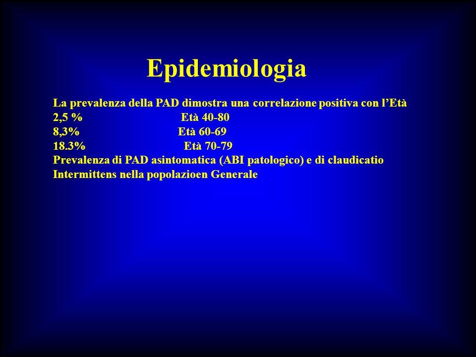 ARTERIOPATIA OBLITERANTE DEGLI ARTI INFERIORI TERAPIA MEDICA Correzione dei fattori di rischio iperlipidemia: CT <200mg/dl, C-LDL <115/100mg/dl ipertensione (-bloccanti/RVS; PA/P di perfusione) diabete (sensibilità allinsulina, con o senza iperisulinemia) = frequenza di amputazioni fumo: la continuazione del fumo di sigaretta, dopo lesordio della claudicatio, determina significativo aumento del rischio di IMA e di amputazioni, nonchè, dopo un intervento di rivascolarizzazione, un rischio aumentato di inefficienza degli impianti di protesi.